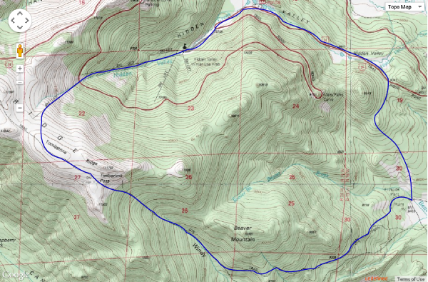 2014-10-11 Hand drawn route for Ute Trail - Hidden Valley Loop