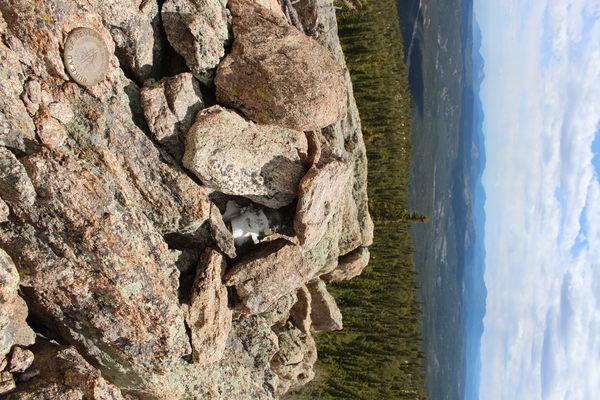 2021-05-28 Summit register and USGS marker on Peekaboo Peak